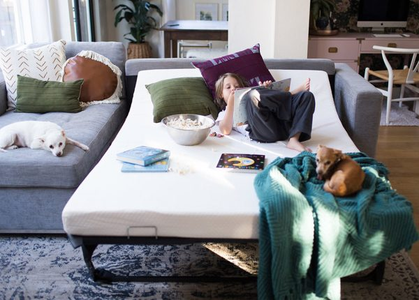 Th kids and pets of KismetHouse demonstrate the utter versatility of the Soma sofa bed.