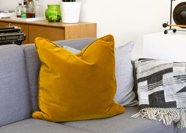 The Lucca pillow in Yarrow gold.
