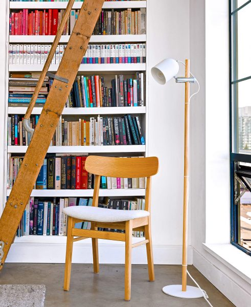 The Ecole chair and the Mast lamp in front of Nicole's beautiful library.