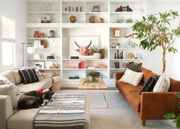 ISpyDIY's decor is grounded in her leather Nirvana sofa.