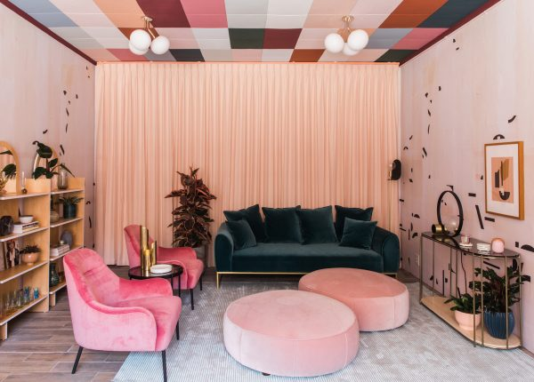 City and Sage designed this colorful office space for their client using some of their favorite Article velvets.