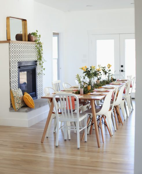 Ashley from Under the Sycamore mixes and matches her chairs around the Seno dining table for an eclectic but casual vibe.
