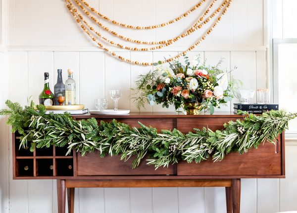 We love a good garland. Colleen from The Good Drink adorned her V Bar sideboard with her very own homemade garland.