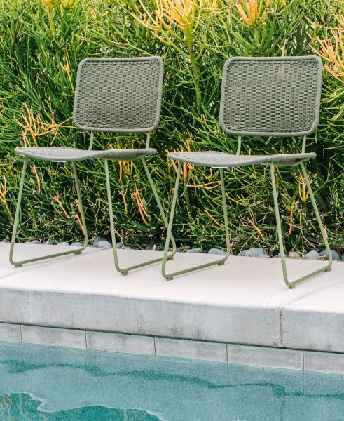 AVE Style's Rumi Dining chairs look great poolside — but she knows to move them under cover when they're not in use.