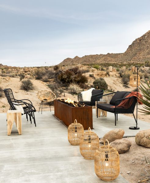 On set with team Article in beautiful Palm Desert. We paired the Corda lounge chair and sofa with the Medan lounger, and accented the scene with our Bori natural lanterns.