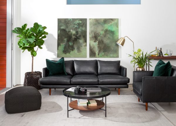 Our Burrard sofa in Bella black leather is a great example of traditional minimalist design. Sleek lines and sharply folded corners give the Bella that clean look you're going for.