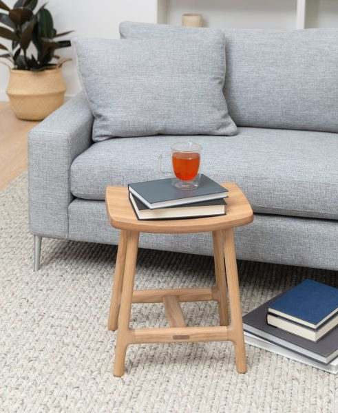 The Esse stool epitomizes the magic of multi-function. This cute little stool can moonlight as a nightstand, daylight as a seat, and mid-afternoon as a home for you latest read. Styled here with the Nova sofa.