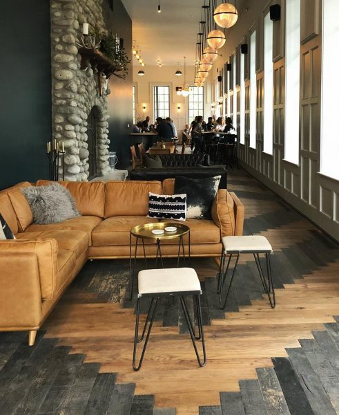 We love how the Surf Hotel in Colorado has established private areas without needing walls. The Timber corner sectional looks beautiful and rugged here.