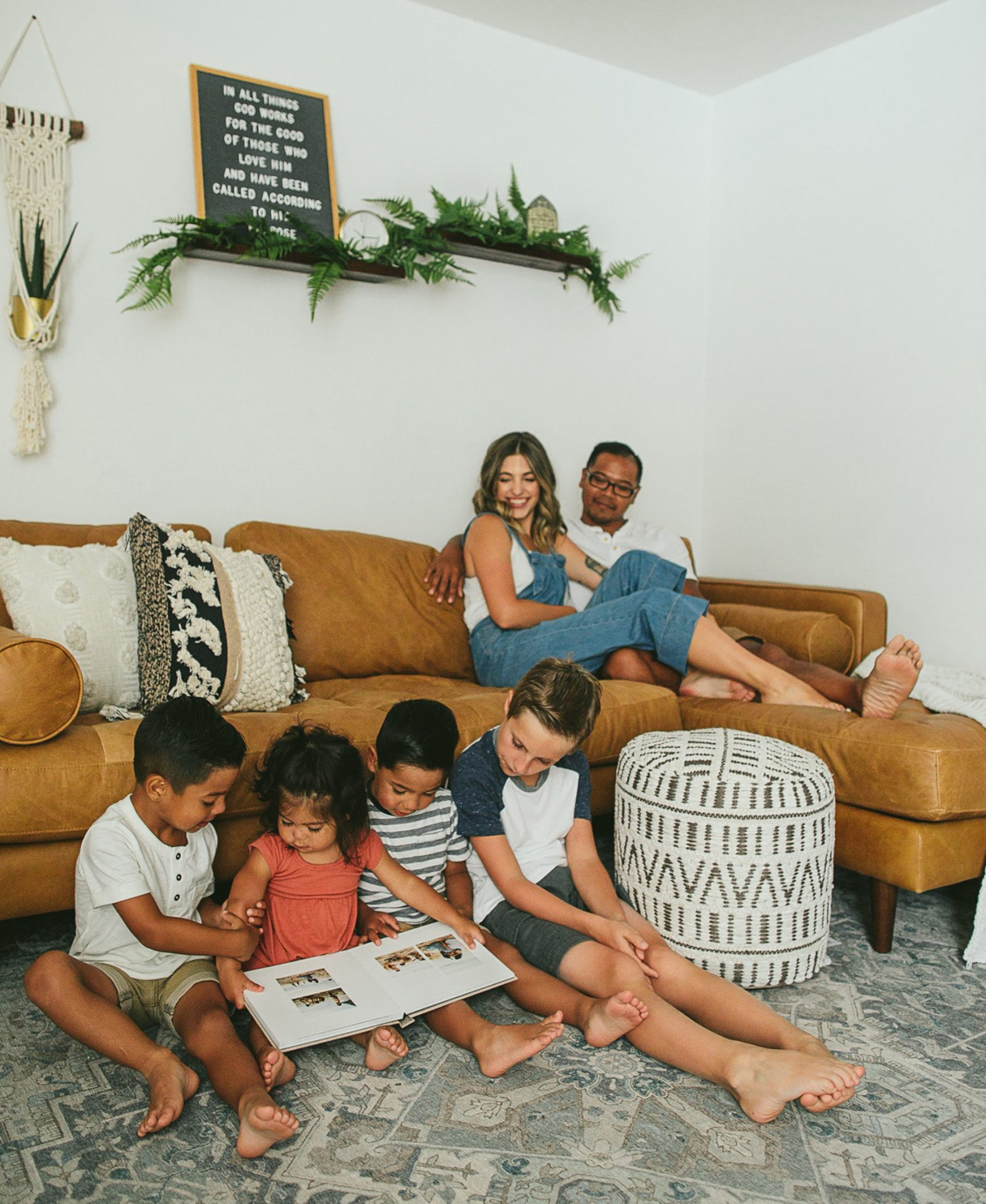 Carolina Andes and family enjoy the Sven Charme tan sectional.