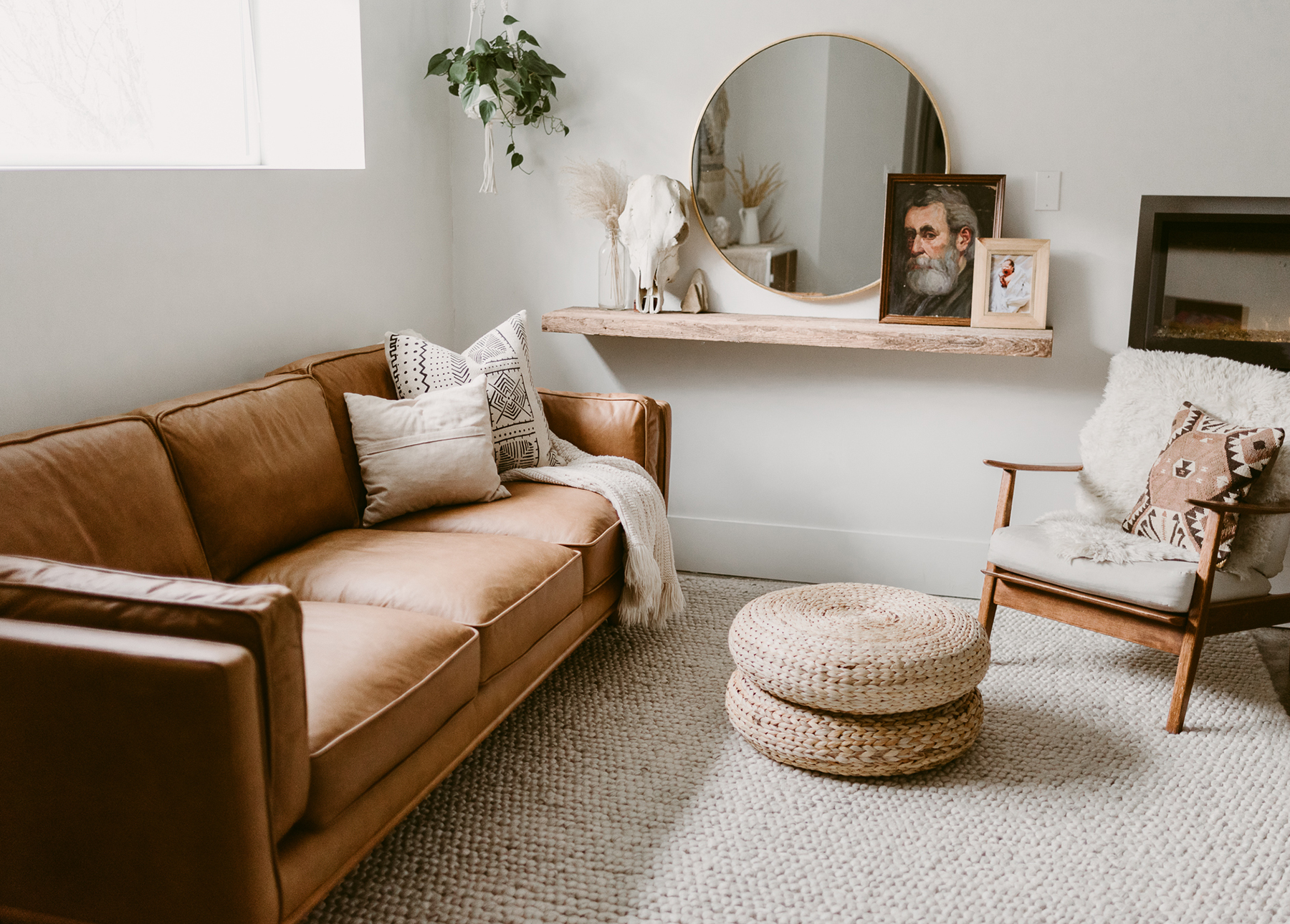 Emily Faith's living room features the tan Timber sofa