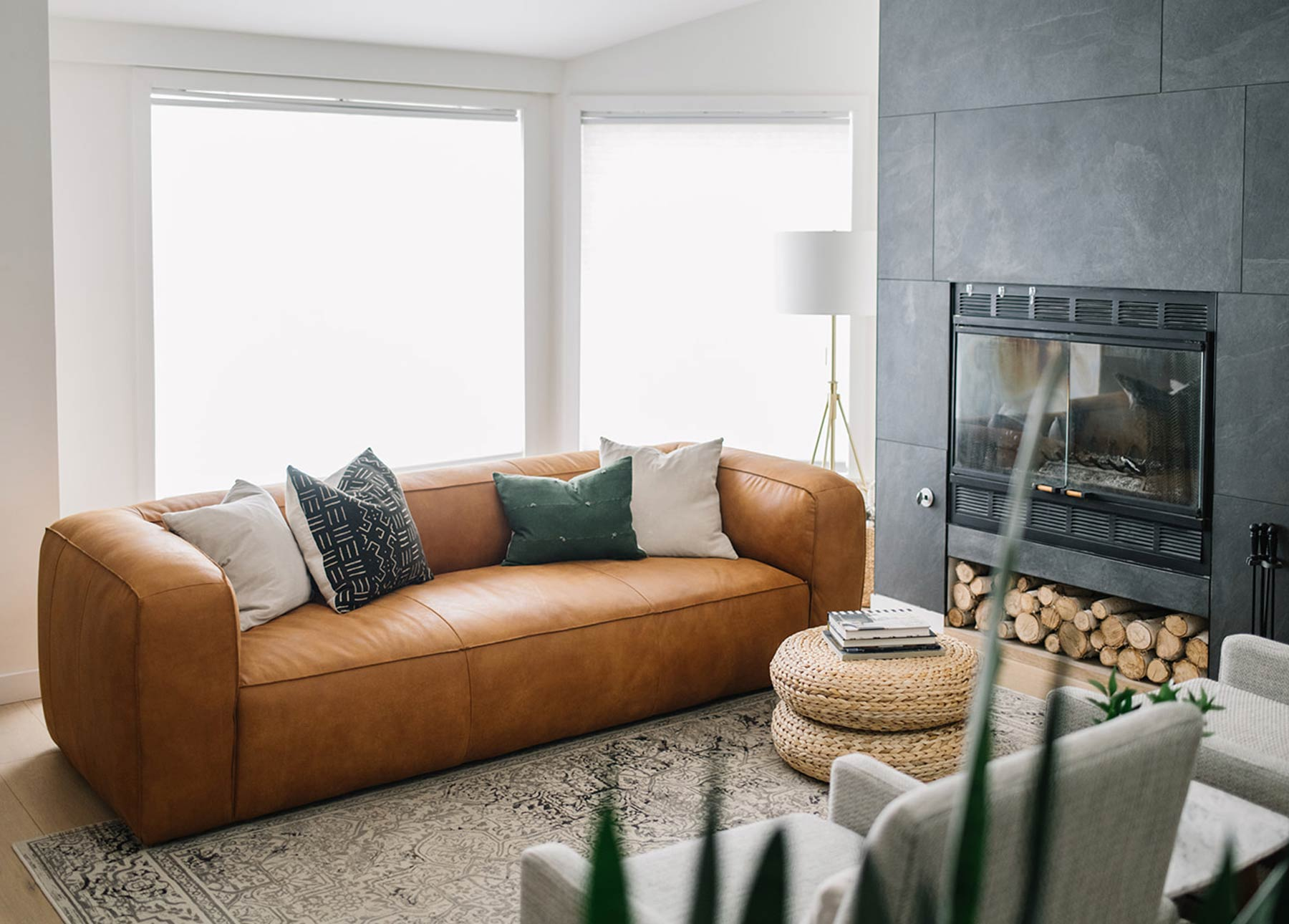 Kristina Lynne's living room, featuring Article's Cigar Rawhide Tan leather sofa