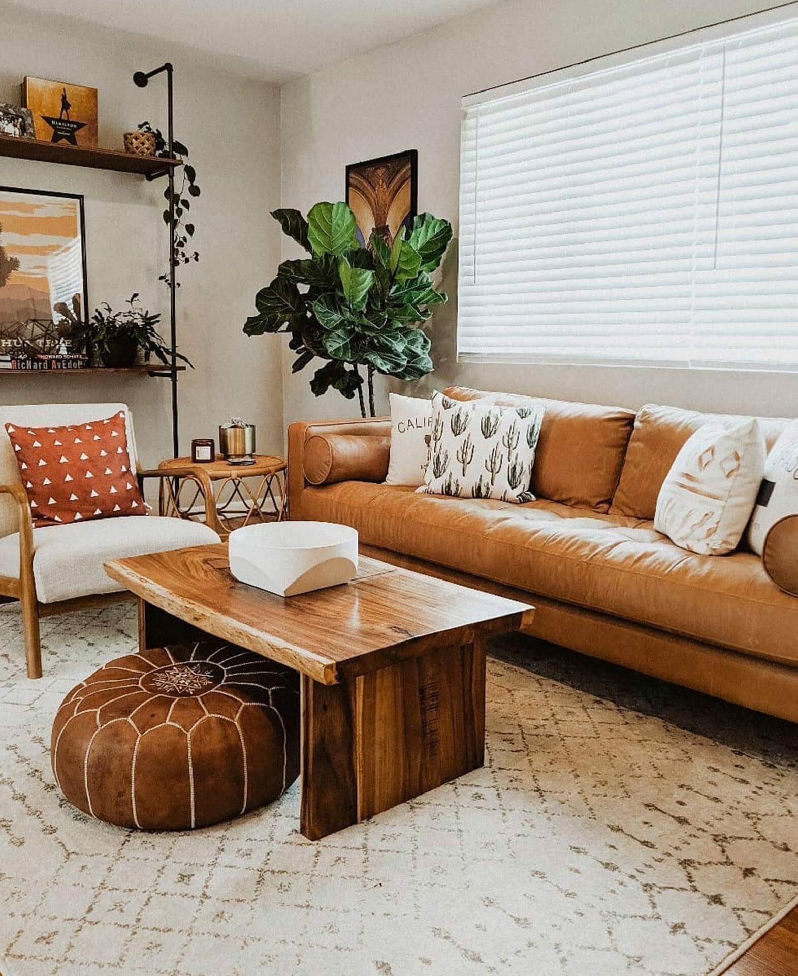 Lizzy Powers Design Article leather sofa in boho living room