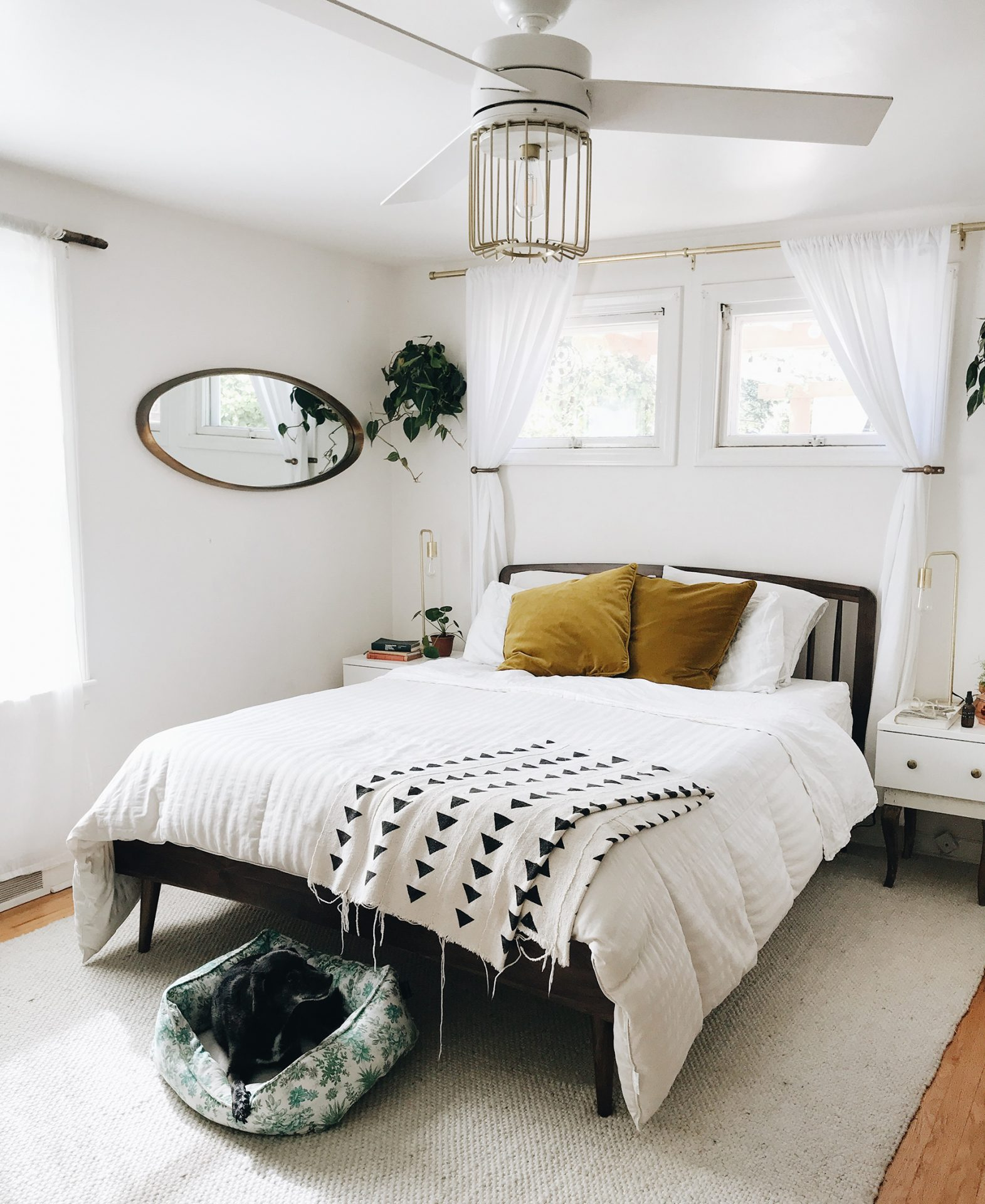 Bev Cooks' light and bright bedroom features Article's Culla bed.
