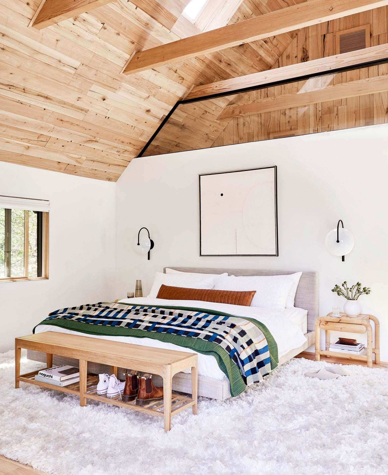 Emily Henderson's Mountain House bedroom is ready for guests.
