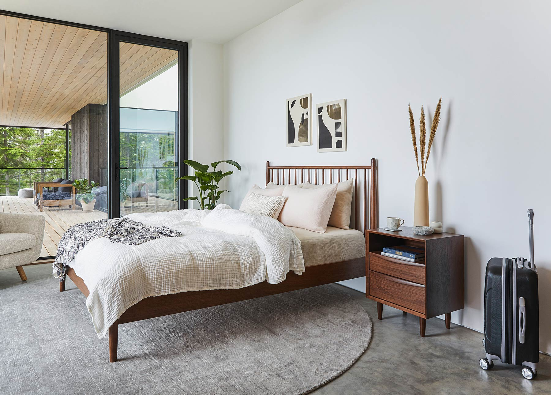 Article's Lenia bed at home in a guest bedroom.