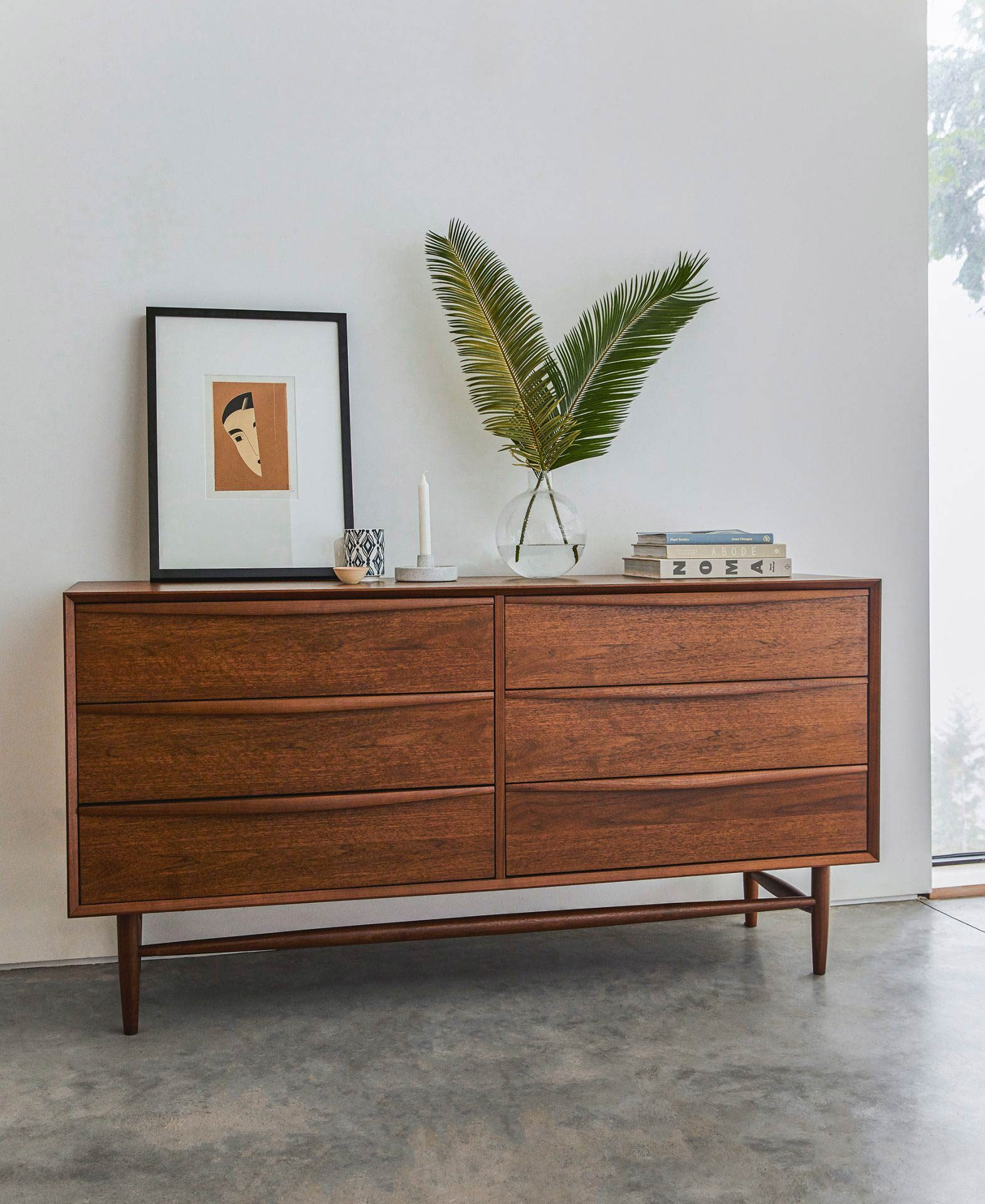 Article's Lenia dresser offers storage and a spot to create beautiful vignettes in your guest bedroom.