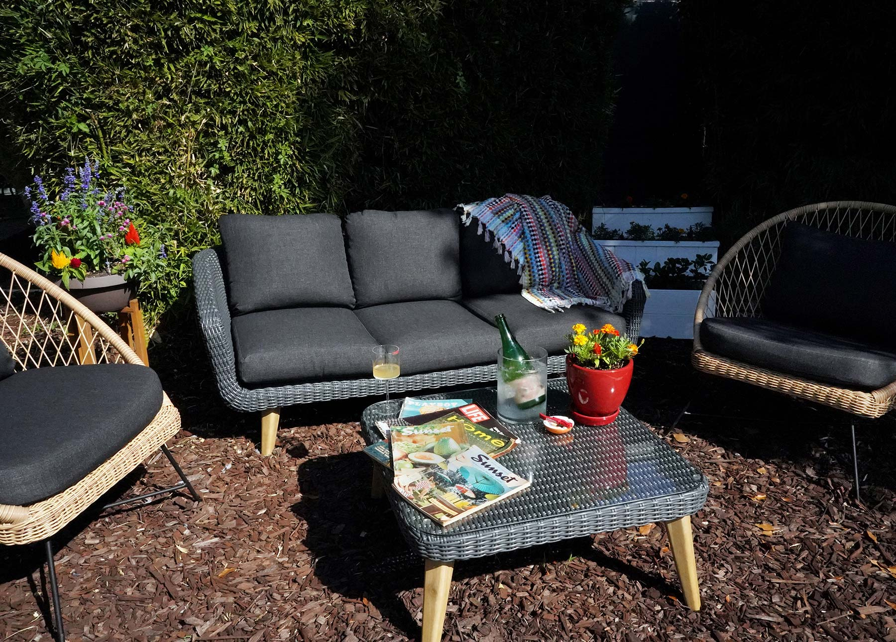 Marissa A. Ross' outdoor entertaining space consists of two Article Aeri chairs and the Article Ora sofa.