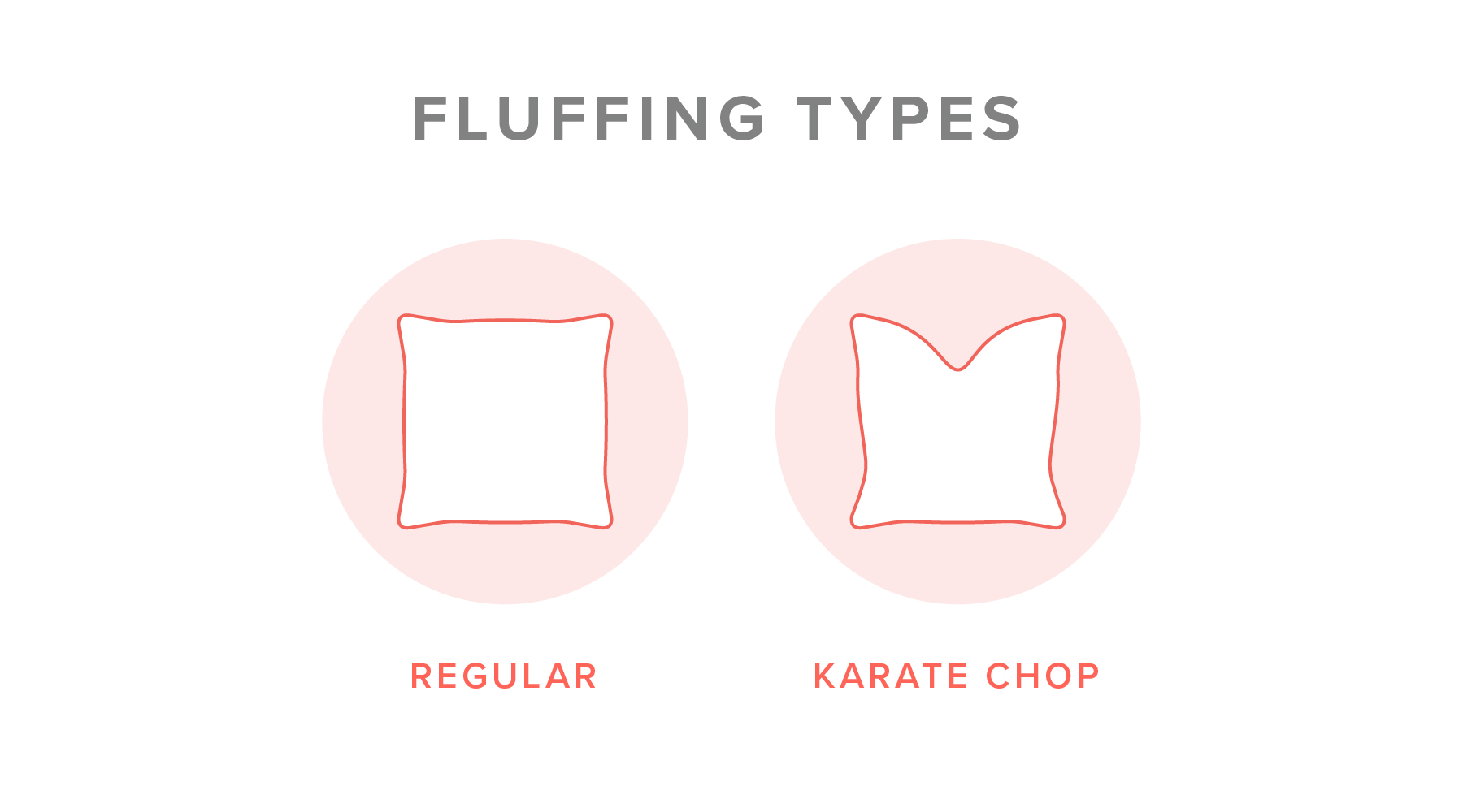Illustration showing the different ways of fluffing a throw pillow