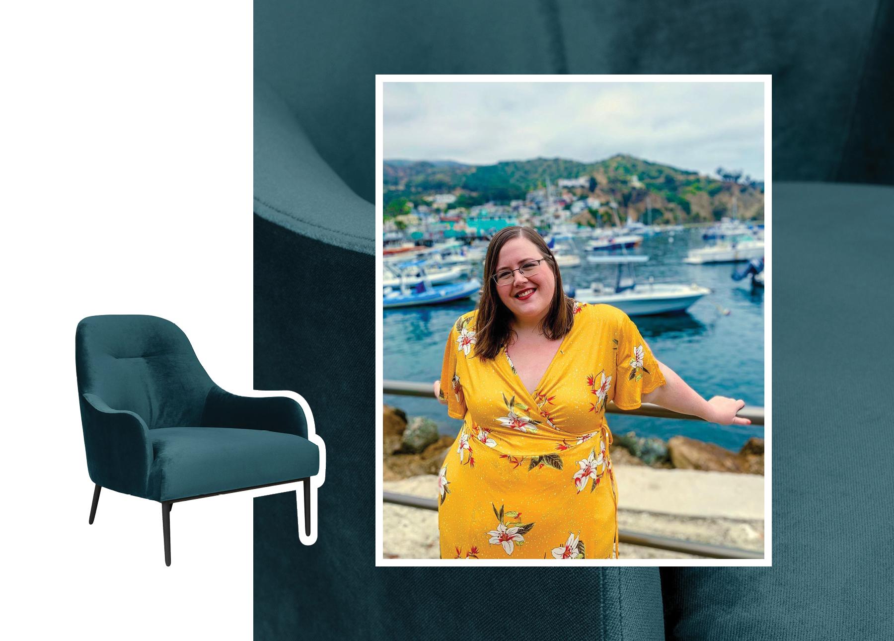 Sarah Wilson, Creator of BudgetGirl, with an Embrace Chair.