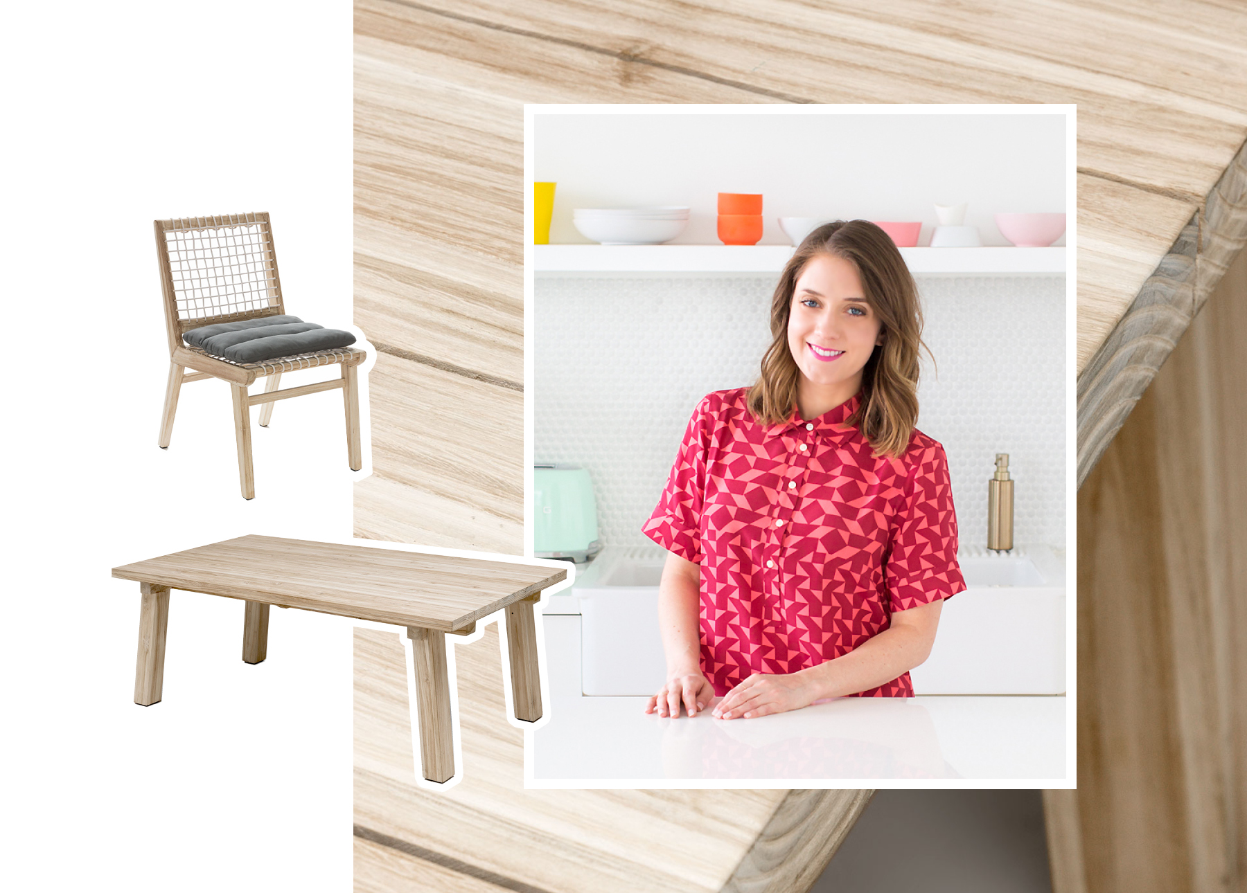 Ashley Rose, Creator of Sugar&Cloth, with a Teaka dining table & chairs