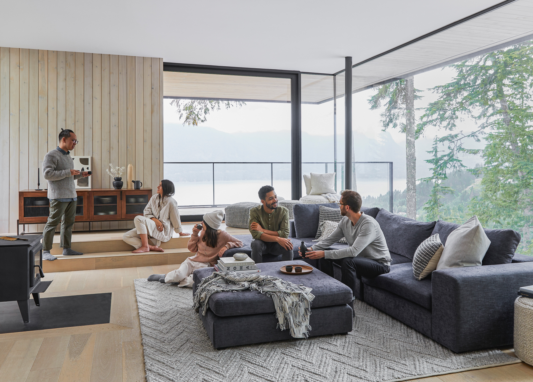 Friends gather for a relaxed house party on the Article Gaba modular sofa