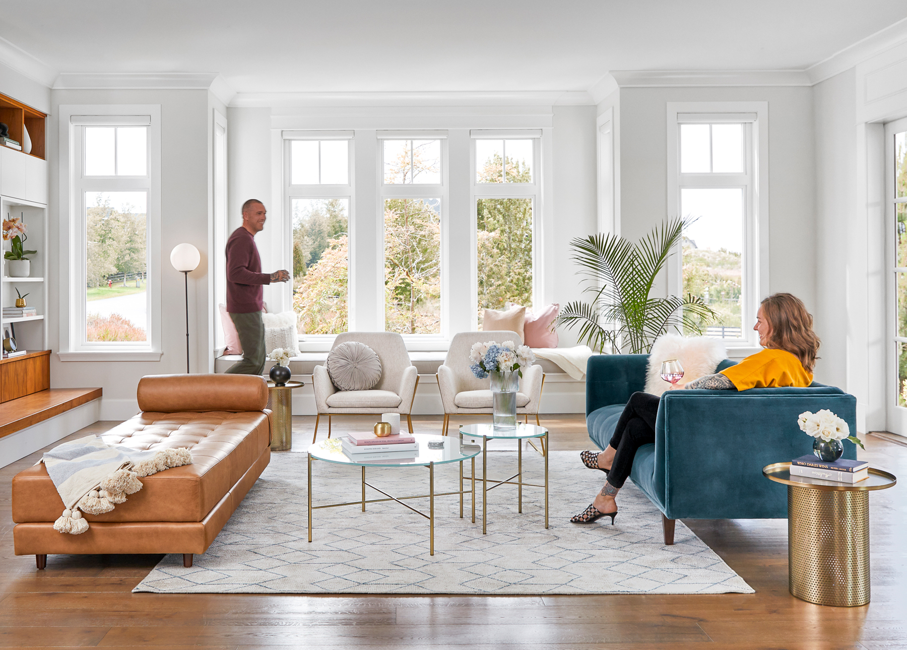 Article furniture is the perfect backdrop for a mod glam get-together