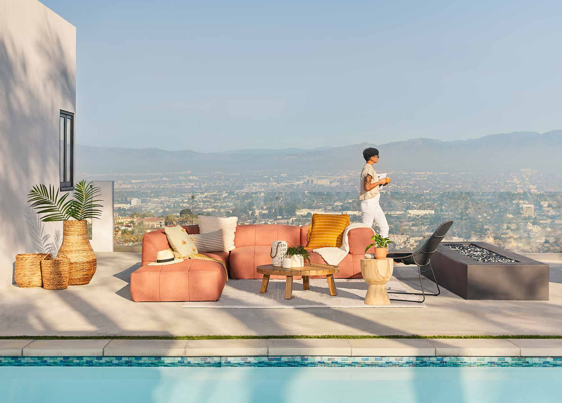 Article's Corvos modular sofa sits poolside in Los Angeles.