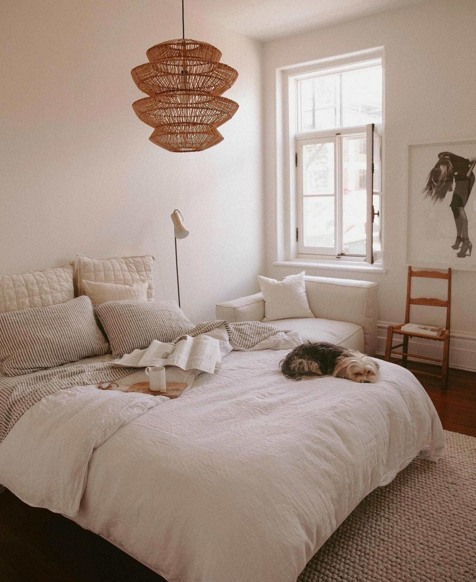 Chloe Cleroux uses the Article Suru Pendant Light in her calm bedroom