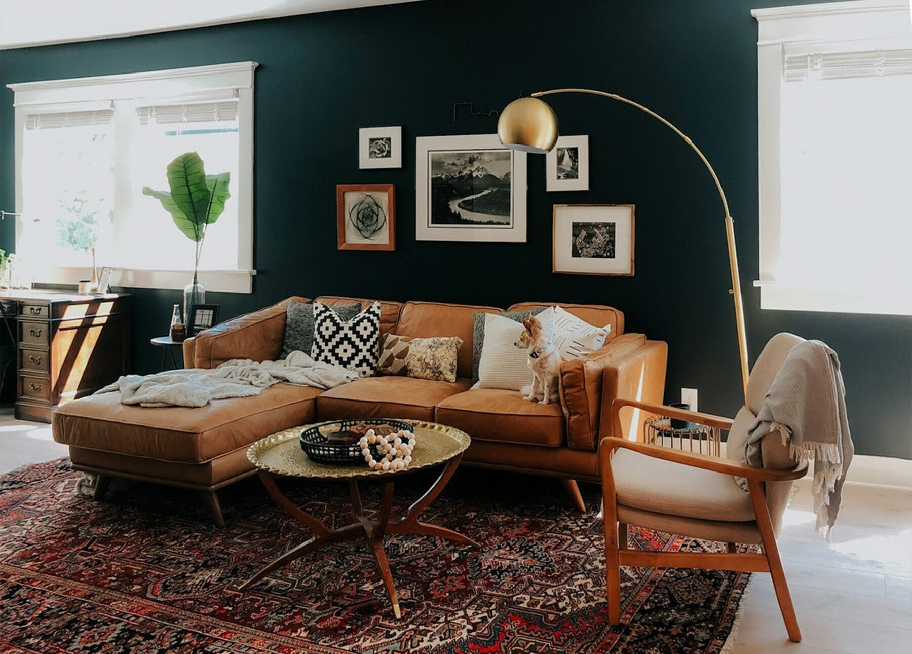 The leather Timber Sectional is styled in a dark green painted room.
