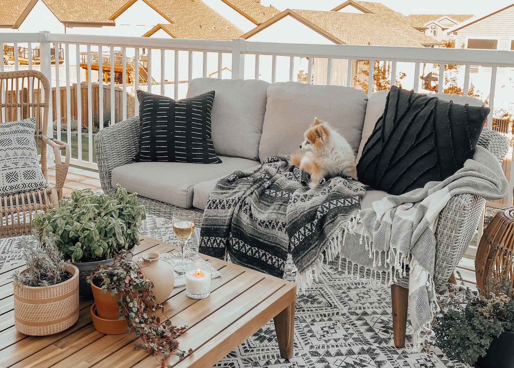 The Blush Home's sweet pup enjoys some patio time on their Ora Sofa.
