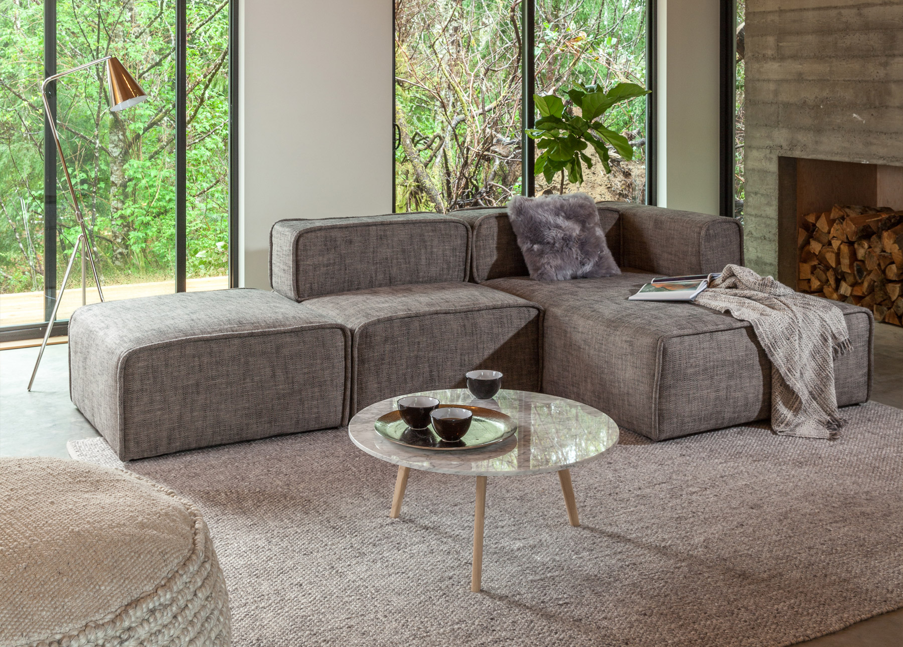 Dedicated apartment width sofas and customizable modular sectionals like quadra work great for small living spaces