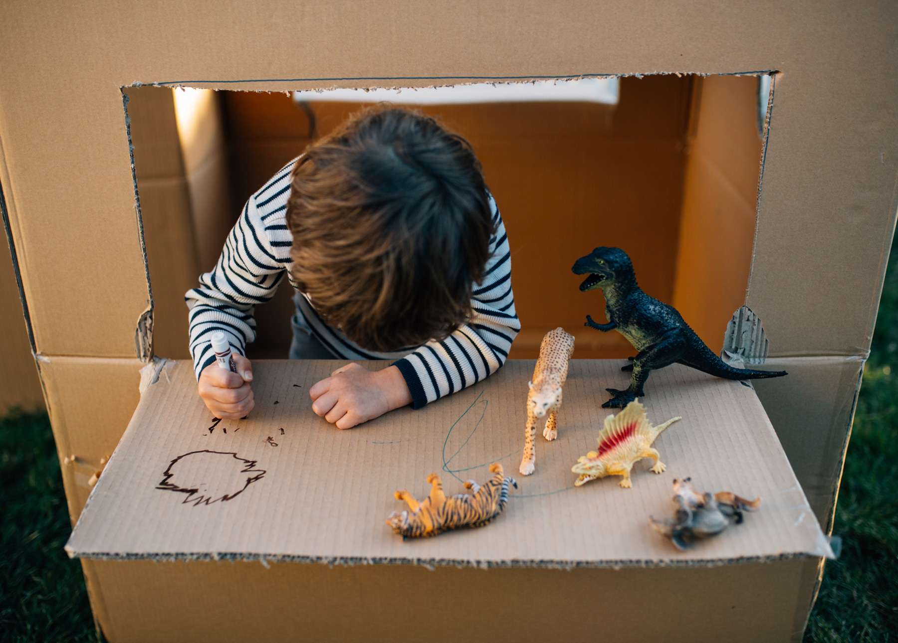 A child plays with dinosaurs on the window ledge of his cardboard box fort.