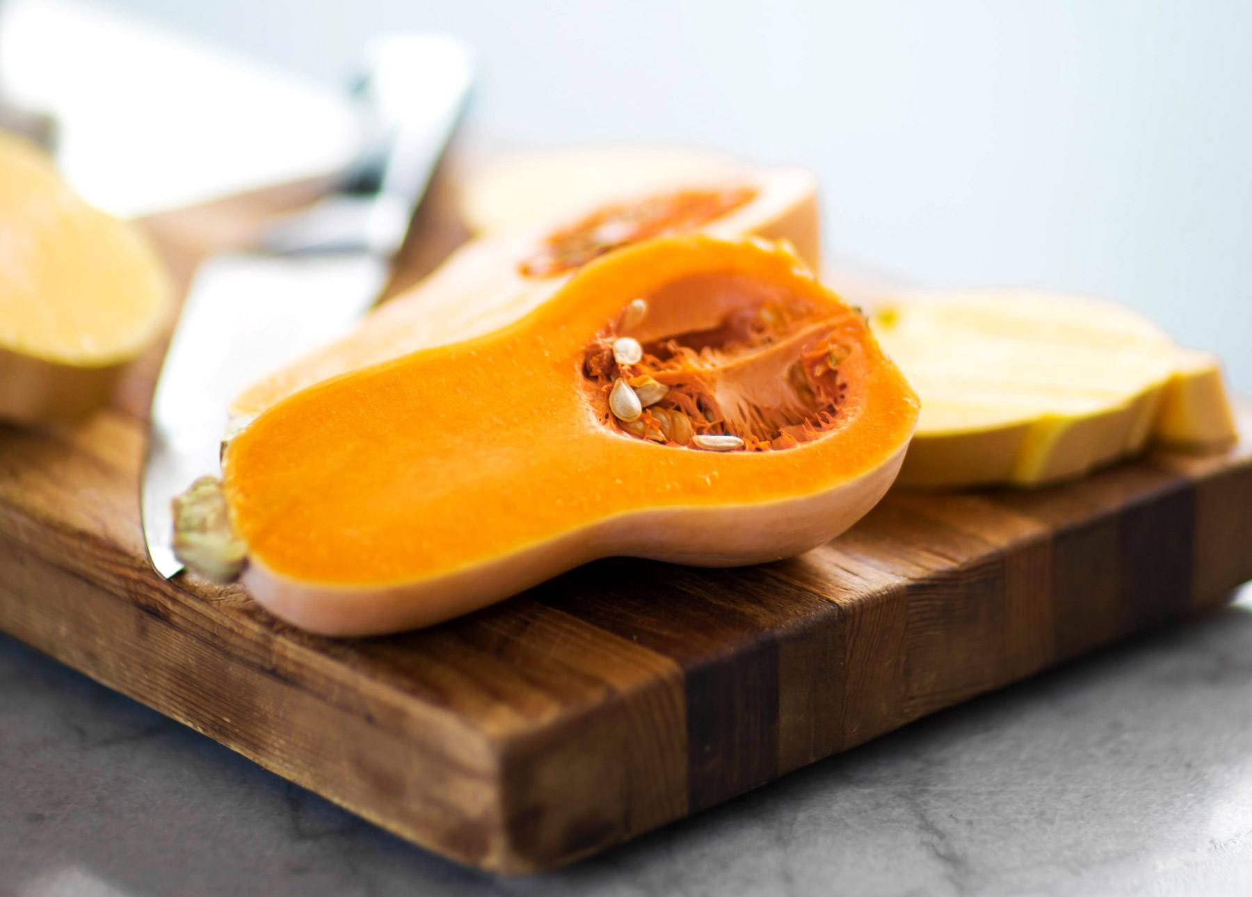 A sliced butternut squash.