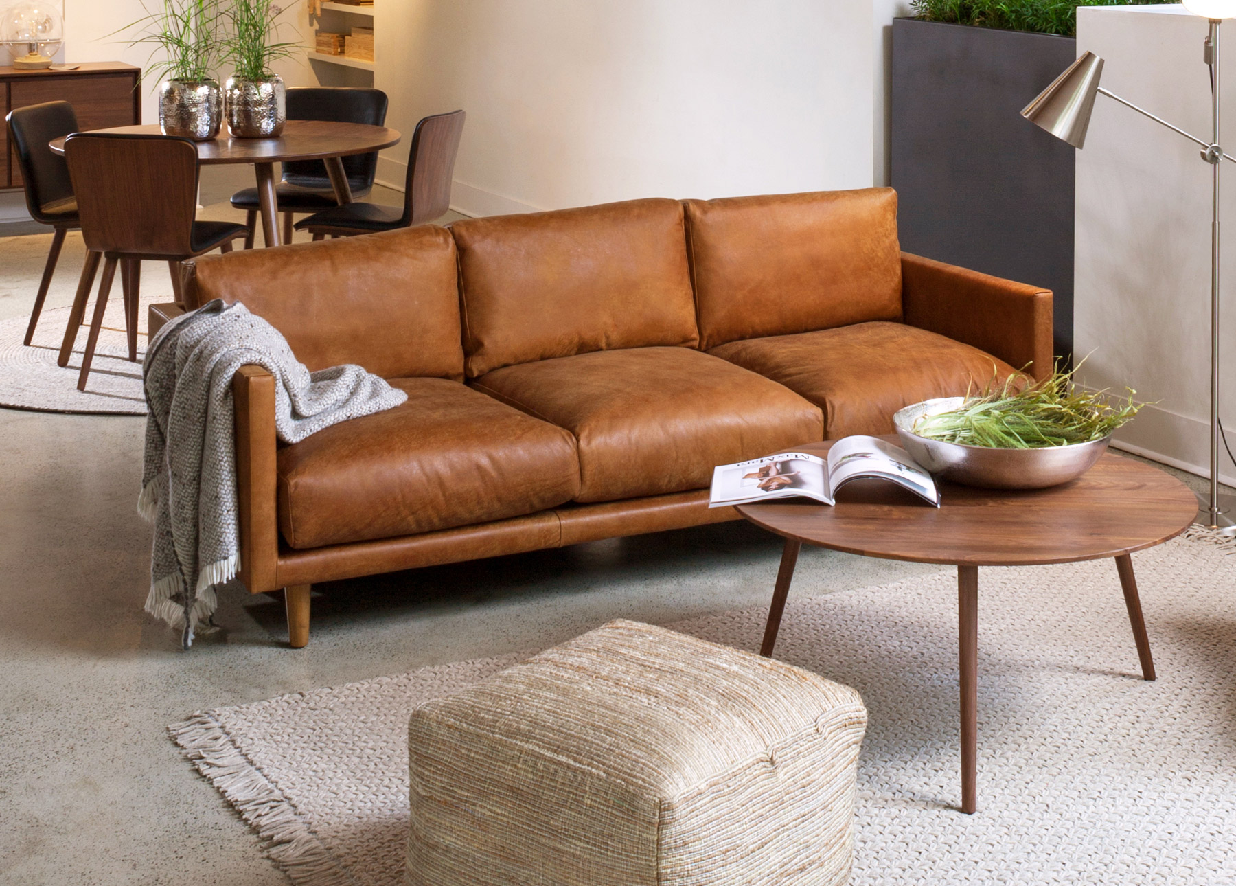Nirvana Dakota Tan Sofa With An Amoeba Wild Walnut Coffee Table