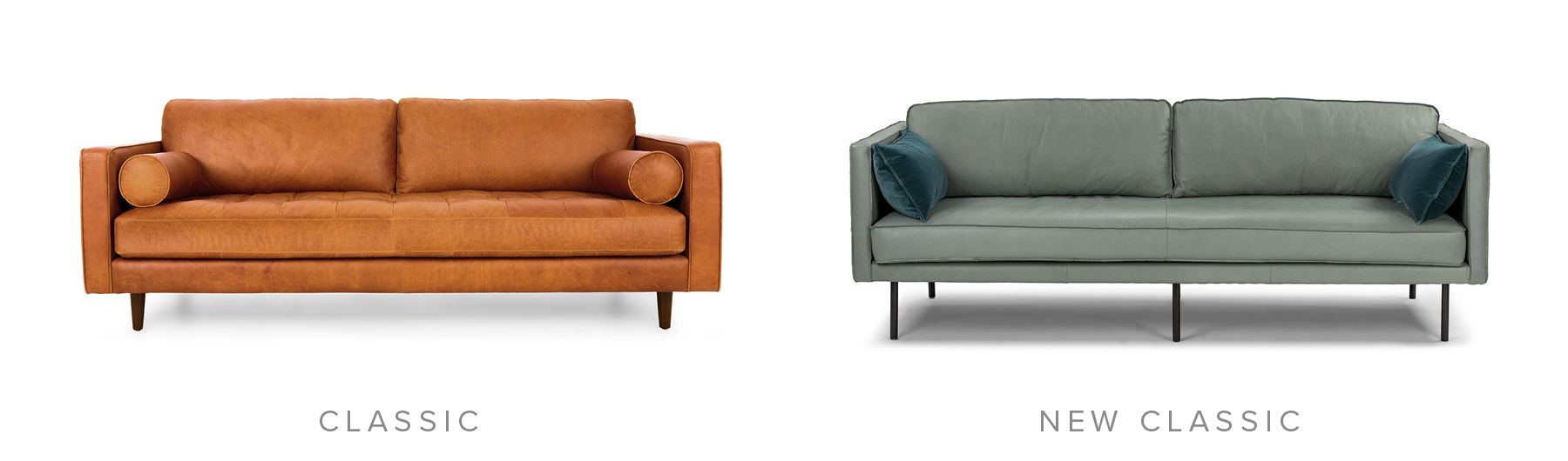 Classic: Sven Charme Tan Sofa. New Classic: Capilano Charme Jasper Sofa