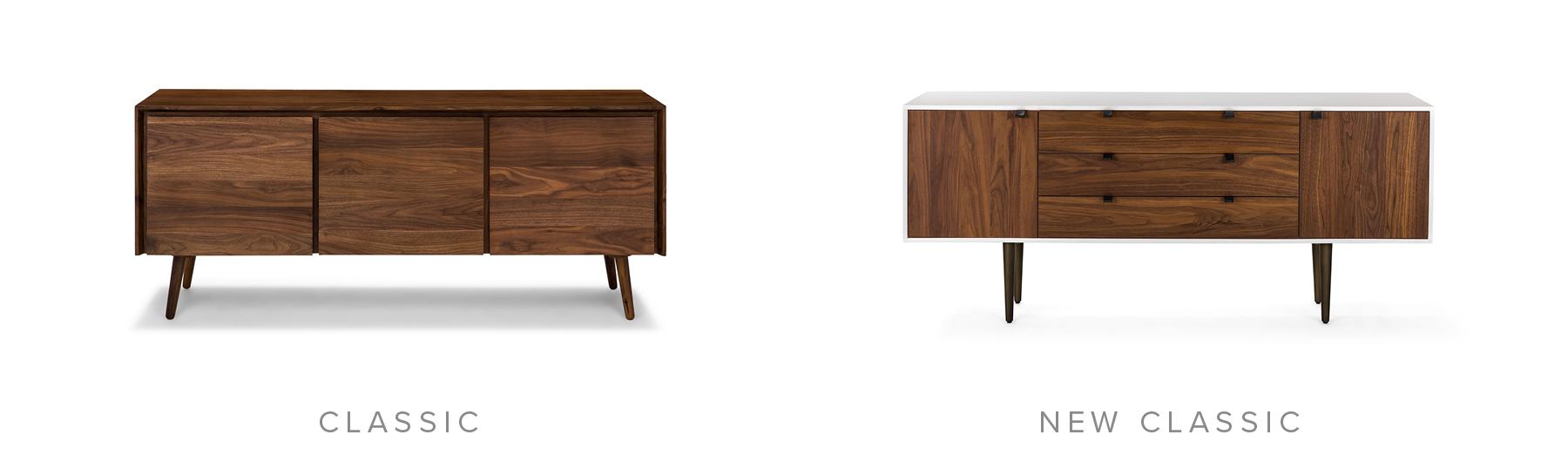Classic: Seno Walnut Sideboard. New Classic: Envelo Sideboard