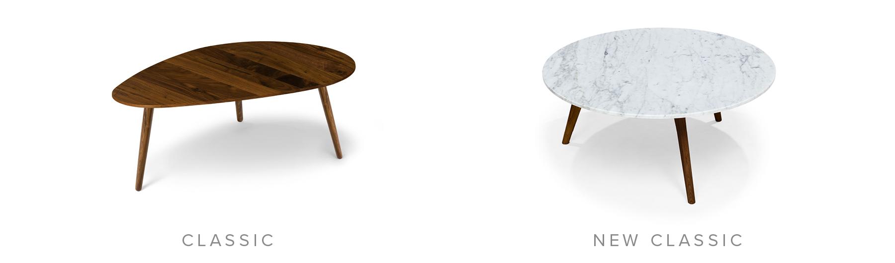 Classic: Amoeba Wild Walnut Coffee Table. New Classic: Mara Walnut Coffee Table