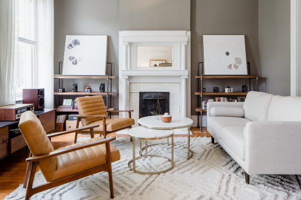 17Apart's Charme Tan Thetis chairs look beautiful in her neutral living room.